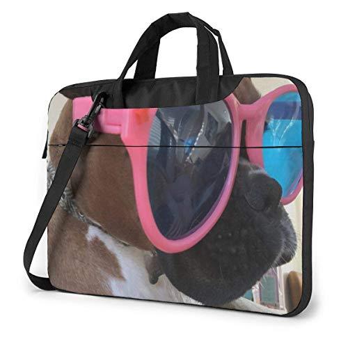 Bolsa para computadora portátil Boxer Perro con Gafas de Sol Bolsa de Mensajero de Hombro, Funda de Transporte para computadora portátil con cinturón de Carro de 15.6 Inch