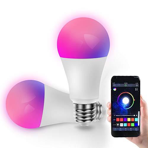 Bombilla LED Inteligente, Yageshark 2 Pcs Bombillas Inteligentes, E27, 10W, Luces RGB, Blancas Cálidas 2700k-6500k, Multicolores, Lámpara Regulable, Control por APP