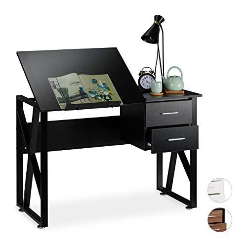 Relaxdays reclinable, Mesa Ajustable, Escritorio de Dibujo, 75x110x55 cm, Negro, Aglomerado, Hierro, 75 x 110 x 55 cm