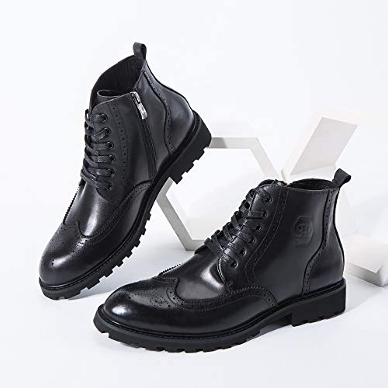 LOVDRAM Boots Men's Autumn And Winter New Leather Bullock Carved Men'S Boots Martin Boots Side Zipper Casual Men'S shoes