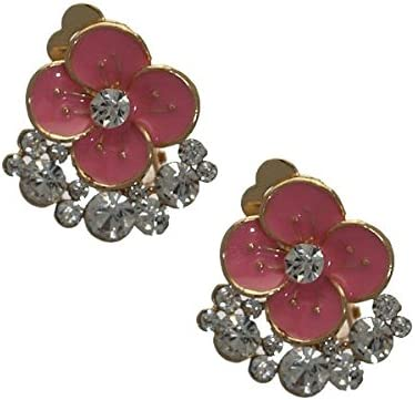 Daimhin Gold tone Pink Crystal Flower Clip On Earrings