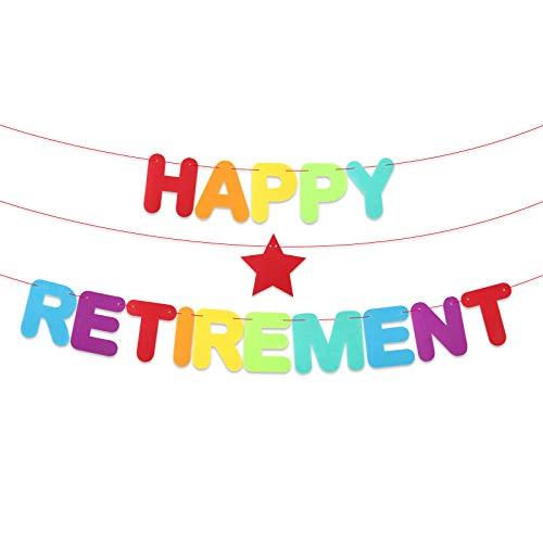 Striscione Pensione Festone Feltro Scritta Happy Retirement Banner Colorato Bandierine Ghirlanda Addobbi Decorazione per Festa Pensione Gadget Nonni Fai da Te