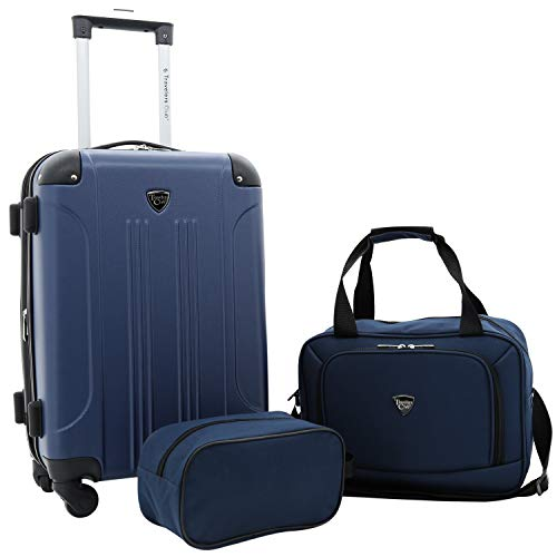 Travelers Club 3 Piece Set Chicago Plus Carry-On Luggage and Accessories Set, Navy Blue Option