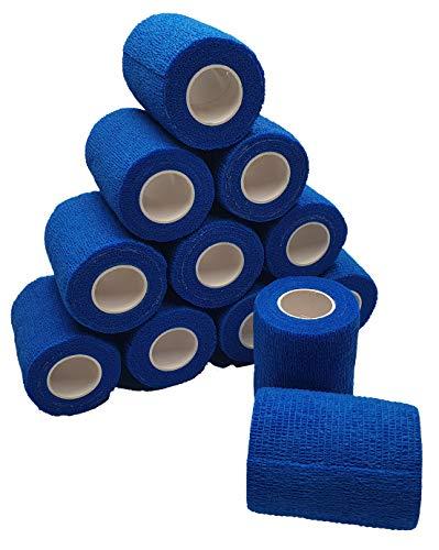 nilo Haftbandagen - 12 Rollen 10cm x 4,5m selbsthaftende elastische atmungsaktive Bandage, Hufverband, Anguss-Verband, Erste Hilfe, Stützverband (Blau)