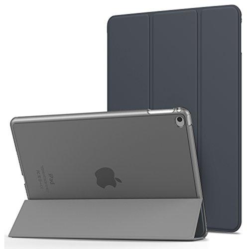 MoKo Hülle für Apple iPad Air 2 - PU Leder Tasche Schale Smart Hülle mit Translucent Rücken Deckel, mit Auto Schlaf/Wach Funktion & Standfunktion für iPad Air 2 9.7 Inch Tablet, Space Grau