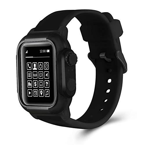 ZLRFCOK Funda protectora impermeable de camuflaje para Apple Watch SE Band Series 6, 5, 4, 3, correa de silicona deportiva de 44 mm, 40 mm, 42 mm (color de la correa: negro, ancho de la correa: 40 mm)