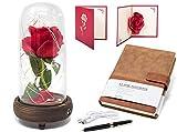 Lámpara de la Rosa Encantada de La Bella y La Bestia protegida por Bóveda de Cristal con iluminación LED además de Agenda y Tarjeta, empaquetado en Caja de Regalo. Impresionante Idea