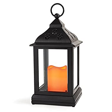 Bright Zeal 10  Decorative Lantern with LED Candle - Lanterns Battery Powered LED Decorative - Lantern Candle Holder - Home Decor Candle Lanterns Decorative Indoor - Black Lanterns for Weddings Decor