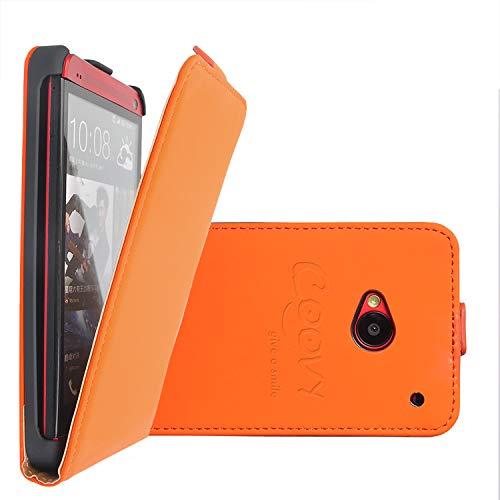 COOVY Funda para HTC One M7 Cubierta Delgado, con Tapa, lámina Protectora de Pantalla | Color Naranja