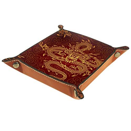Caja de almacenamiento pequeña, bandeja de valet para hombre,Dragon Chino ,Organizador de cuero para llaves de caja de monedas