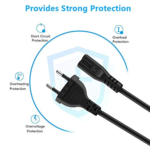 Cable d'alimentation Euro,Cshare C7 Figure 8,2 Pin 3,9 Ft/1,2M AC Power Cable Compatible avec Surface Pro Sony Samsung Philips Toshiba LG TV Xbox(Noir)
