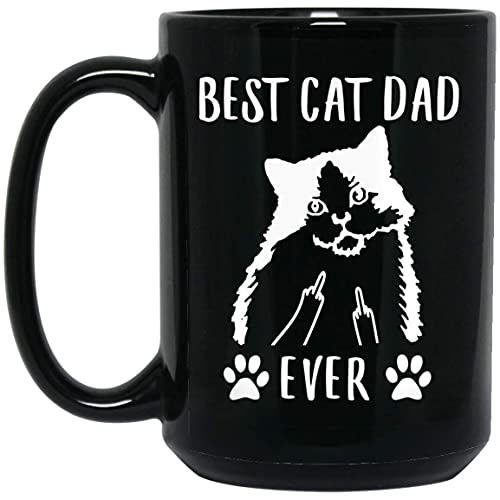 N\A Taza de café Negra del Dedo Medio del Mejor papá del Gato del Ragamuffin Divertido