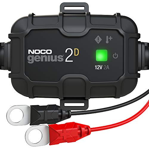 NOCO GENIUS2D, 2-Amp Direct-Mount Onboard Charger, 12V Battery Charger, Battery Maintainer, Trickle Charger, and Battery Desulfator with Temperature Compensation