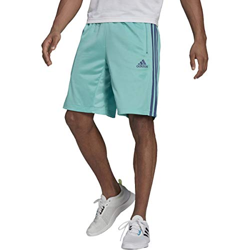 adidas Mens Designed 2 Move 3-Stripes Shorts Acid Mint/Crew Blue Small