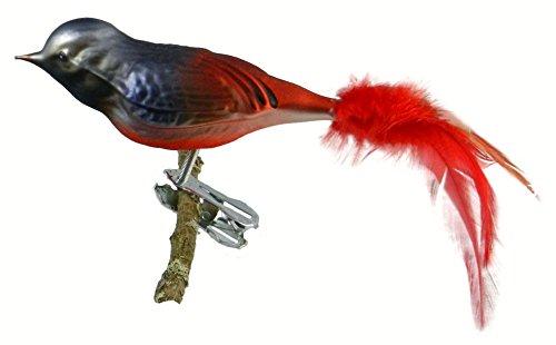 Thüringer Kerstmis 52-012 glazen vogel, tuinroodbad met natuurlijke veren