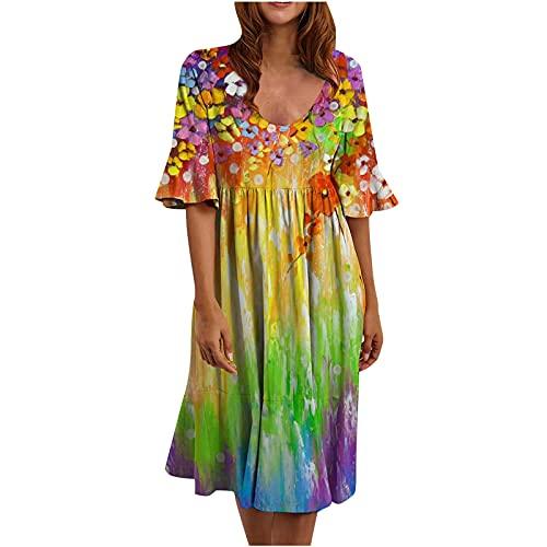 AMhomely Vestido de verano para mujer Venta Liquidación, Moda Mujeres Casual O-Cuello Acampanado Mangas Impresión Vestido Suelto Reino Unido