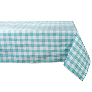 DII 100% Cotton, Machine Washable, Dinner, Summer & Picnic Tablecloth, 60 x 84 , Aqua & White Check, Seats 6 to 8 People