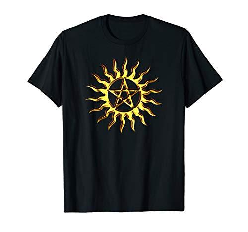 Pentagramm Sonne Pentakel Wicca Neopagan Symbol Elemente T-Shirt