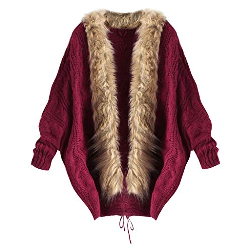 Oversize wintermantel dames elegante vleermuis gebreide trui cardigan warm gevoerd winterjas met bontkraag goedkoop lang losse sweater gebreide jas parka outwear