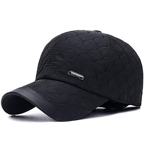 TZX Hut, Baumwollkappen für Männer Winter-Baumwollkappe im Freien warmen Gehörschutz Baseballmütze Einfach und stilvoll warme Hut-Blau/Schwarz,C