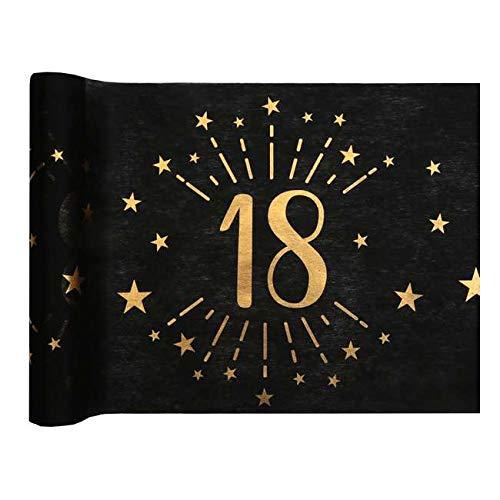 1001decotable - Chemin de table Anniversaire 18 ans noir et or métallisé x 5 mètres