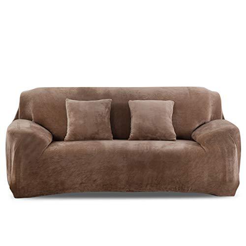 PETCUTE Fundas para sofá elásticas Cubre Sofa Fundas de sofá Terciopelo de 2 plazas sofá Fundas de Grueso Camello