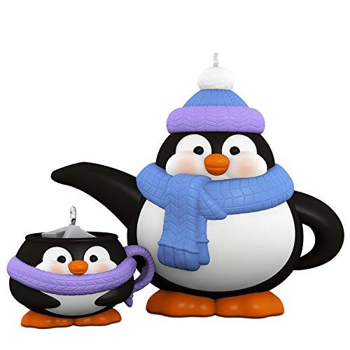 Hallmark Keepsake 2017 Tea Time! Penguin Teapot and Teacup Porcelain Christmas Ornaments, Set of 2