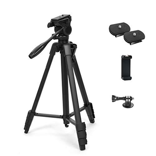 Phinistec 152cm Dreibein Stativ für Handy, Kamera, iPhone, DSLR, Beamer, Webcam, Gopro mit Smartphone Halterung und Gopro Adapter mit Tragetasche (Schwarz)