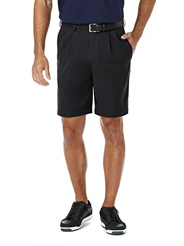 Haggar Men'sCool 18 Expandable Waist Plain Front Plaid Short black 34