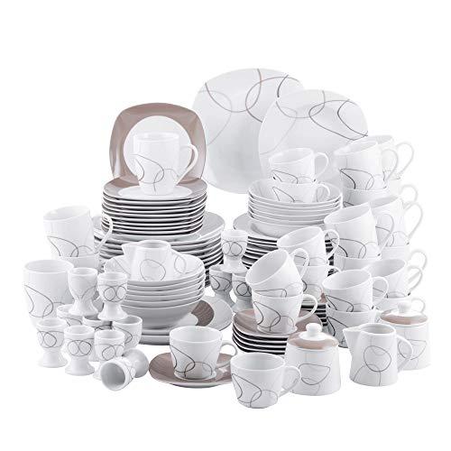 VEWEET Porzellan Tafelservice \'NIKITA\' 100-teilig Set, Kombiservice Beinhaltet Dessertteller, Speiseteller, Suppenteller, Müslischalen, Kaffeebecher, Kaffeetassen Set, Eierbecher, Milch- und Zuckerset