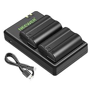 Neewer Nikon EN-EL15 Doble Cargador con 2 Baterías de Repuesto (2100mAh, 100 % Compatible con la Serie Nikon 1 V1, D7100, D7000, D7200, D750, D810, D610, D800, D600, D800E, D810A) - Negro