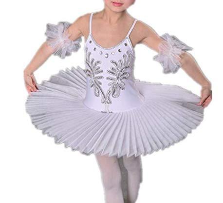 IEFIEL Vestido Maillot de Danza Ballet Cisne Niña Leotardo Gimnasia Clásico Con Tutú Princesa Body Elegante de Baile Disfraz Bailarina Lentejuelas Actuación Blanco A 5-6 años