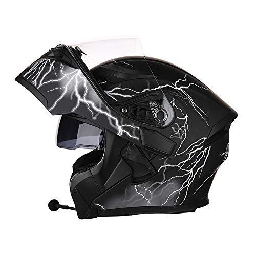 SLSMD Motorcycle Bluetooth full face helm, modulaire flip dubbele zonnekap anti-mist volwassen motorcross helm, ingebouwde luidspreker headset microfoon automatische inductie