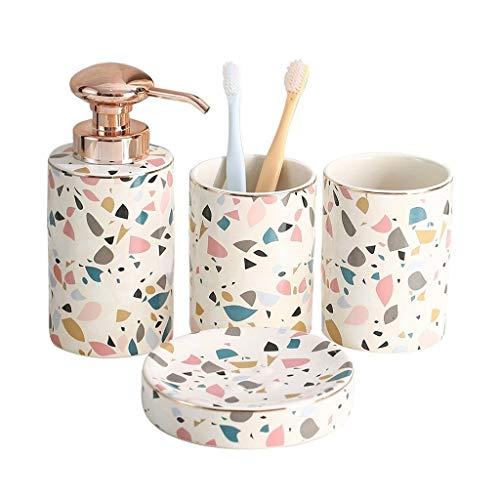 Dosificador Jabón líquido 4 piezas de baño de cerámica Set de accesorios de mármol del arco iris textura Baño Completo decoración kit incluye dispensador de la loción Tumbler - Jabonera la decoración