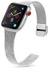 Fullmosa 2 Colores Correa Apple Watch Metálica Serie NES con Protector de Pantalla, Compatible con iWatch Series 6/5/4/3/2/1,Series SE, 38mm/40mm Plata + Hebilla de Plata