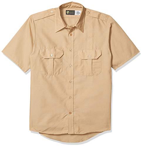 Horace Small Men's Classic Short Sleeve Security Shirt, Khaki, Large