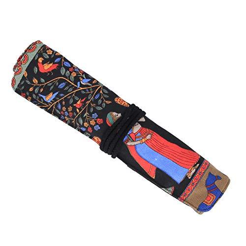 Felenny Rollo de Lápiz 20 Agujeros Impermeable Pintura Al Óleo Estuche de Almacenamiento de Pincel Lienzo de Doble Capa Borde Engrosado Suministros de Arte