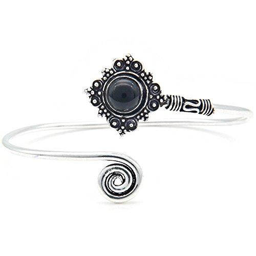 mantraroma Armreif Armband versilbert silbern Onyx schwarz (922-05-022-03)