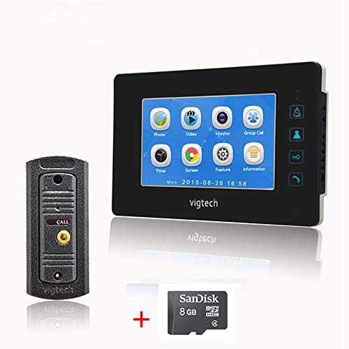 7`` LCD Kleur Scherm Video Deurbel-Record intercom Systeem Kit HD Mini Camera met Foto nemen/Video Opnemen 8GB TF Card Metalen Shell