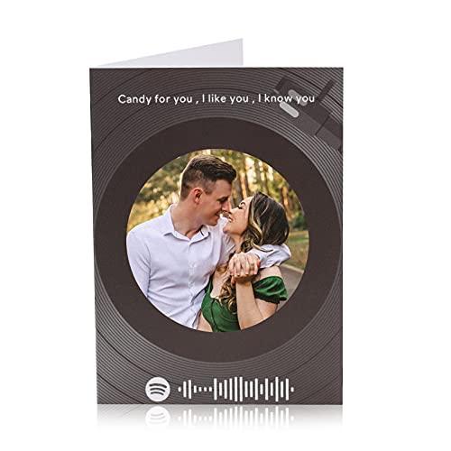 Glooraca Personlig Spotify Kodkort skanning sång musik foto affisch skanningsbar musik kod-Spotify kodkort trä graverat miljövänligt presentkort - alla hjärtans dag, årsdag, födelsedag