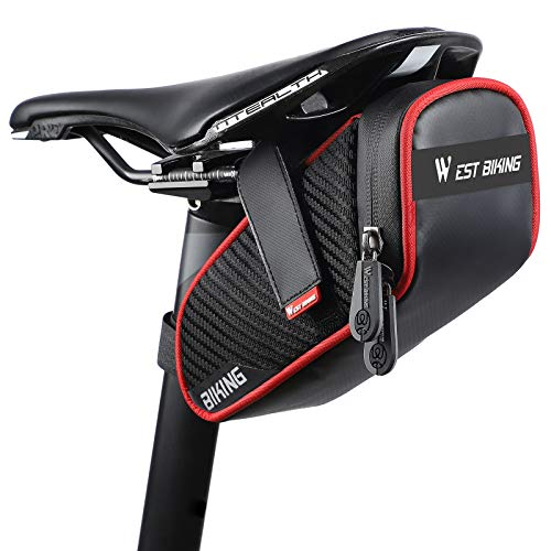 ICOCOPRO Bike Saddle Bag Waterproof, Portable Bicycle Under Seat Bag, Compact Bicycle Storage Bag with Reflective Stripes for Road Mountain Folding Bike (1)