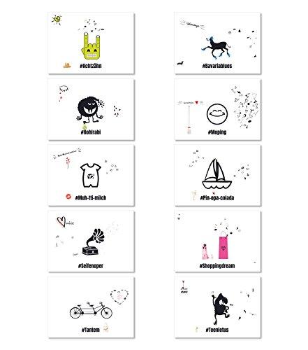 Hashtag Grußkarten Set HGK-S2, Sparset, mit 10 verschiedenen Motiven, partieller UV-Lack, Postkarten DIN A 6