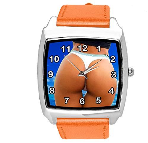 Reloj Cuadrado de Cuarzo con Correa de Piel auténtica de Color Naranja, de Taport