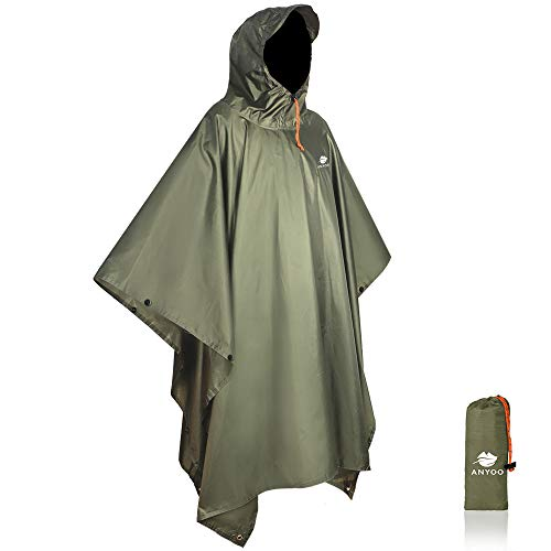 Anyoo Waterproof Military Poncho Waterproof Lightweight