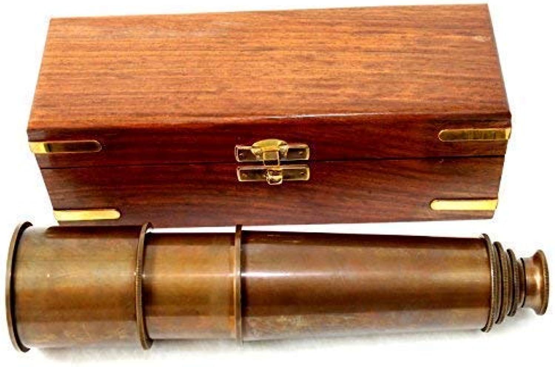 Antik Fernrohr Messing Teleskop ausziehbar auf ca. 50 cm in edler Holzbox
