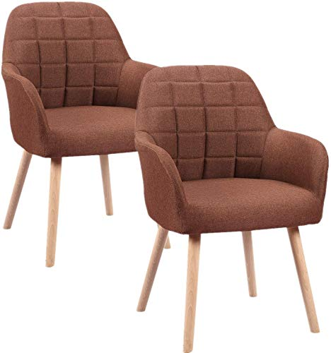 Froadp Esszimmerstühle Sessel mit Armlehne und Holz Bein Feines Leinen Polsterstuhl Besucher-Stuhl Konferenzstühle Bürostuhl(2er Set, Braun)