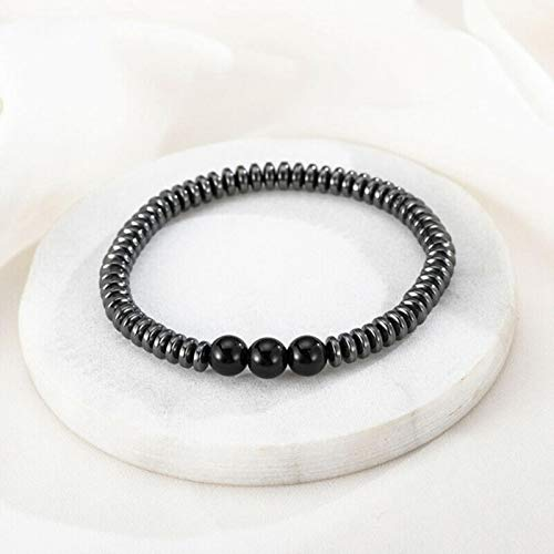 AQUALITYS Weight Loss Magnetic Therapy Bracelet For Men Women 8mm Black Hematite Stone Beads Stretch Health Care Bracelet Jewelry Gift