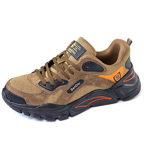CHNHIRA Sicherheitsschuhe Herren Damen Arbeitsschuhe Leicht Sportlich S1 Stahlkappe Anti-Perforations Schutzschuhe Sneaker (EU 42 R Khaki)