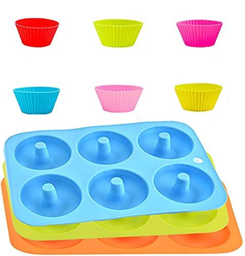 9pcs - 3 Molde para Donut Molde de Silicona para Pasteles, Bandeja para Hornear Muffins , 6 Cavidades de Pastel Antiadherente con 6 Taza de Muffin Reutilizada para Tartas,Magdalenas,Galletas,Bagels