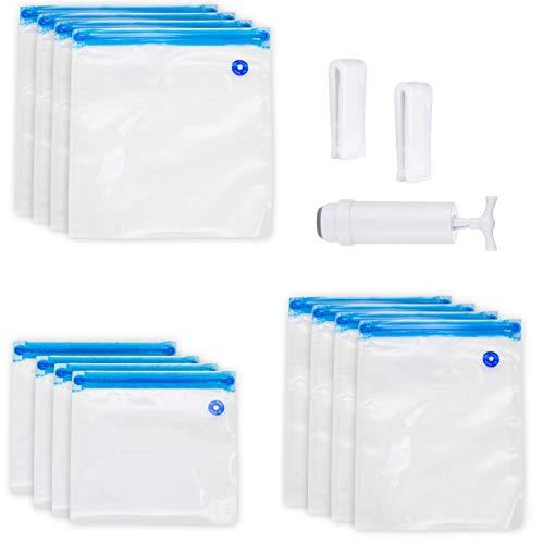 Femongy Sous Vide Beutel Set, Sous Vide Taschen, 12 wiederverwendbare Vakuumbeutel BPA-frei mit 1 Handpumpe, 2 Dichtungsklammern, ideal für die Aufbewahrung von Lebensmitteln und Sous-Vide-Kochen